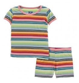 kickee pants cancun strawberry stripe short sleeve pajama set with shorts