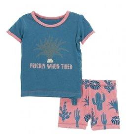kickee pants strawberry cactus short sleeve pajama set with shorts