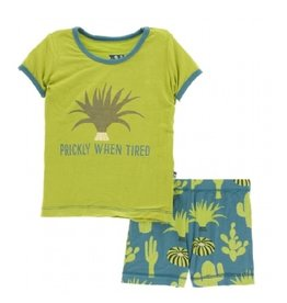 kickee pants seagrass cactus short sleeve pajama set with shorts