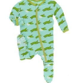 kickee pants glass sea turtles footie with zipper