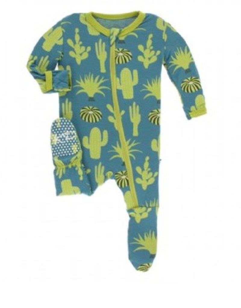 kickee pants seagrass cactus footie with zipper