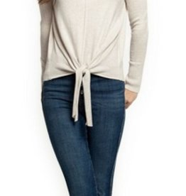 dex scoop neck sweater with tie front