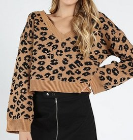 leopard knit v neck top
