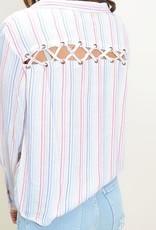 vintage havana candy stripe tie front top