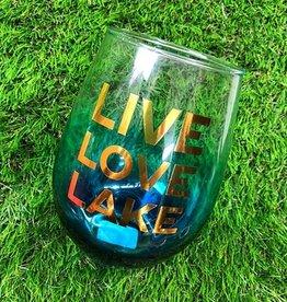 slant live love lake 30oz stemless wine glass FINAL SALE