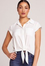 all lined up front tie blouse