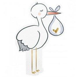 stork diecut foil beverage napkins 20ct