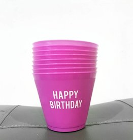 slant pink happy birthday 9oz wine cups (8ct)