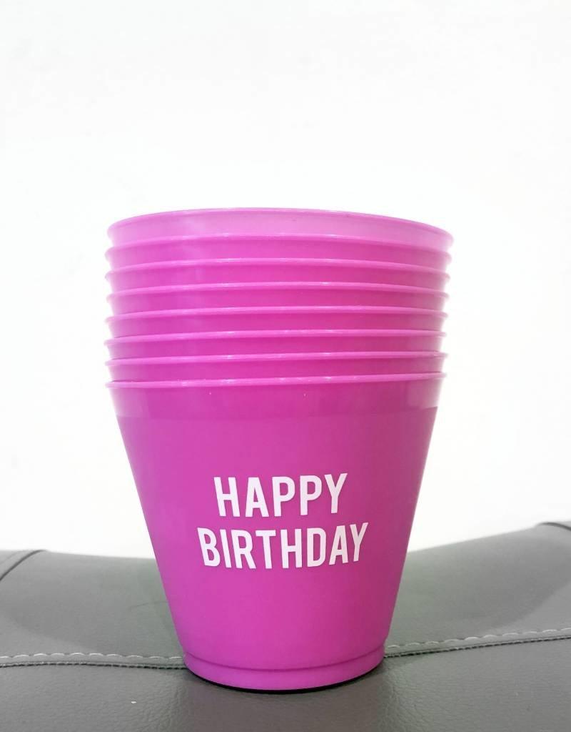 slant pink happy birthday 9oz wine cups (8ct)