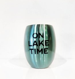 slant on lake time blue 11oz stemless wine glass