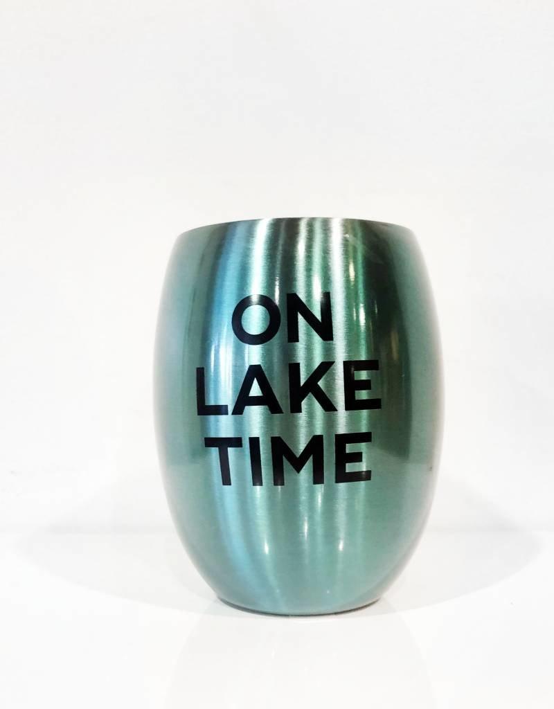 slant on lake time blue 11oz stemless wine glass