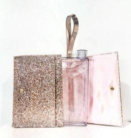 slant rose gold glitter clutch/clear flask combo