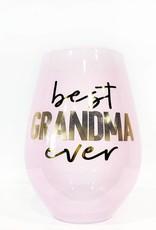 slant best grandma ever 30oz stemless wine glass