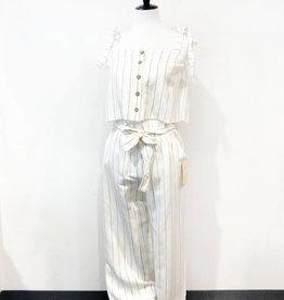 vintage havana stripe linen blend tie waist gaucho pant
