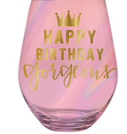 slant happy birthday gorgeous 30oz stemless wine
