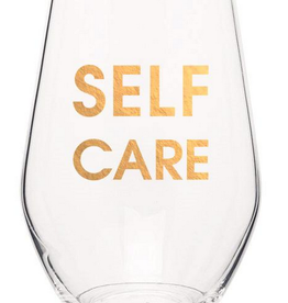 chez gagne self care gold foil wine glass