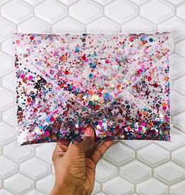 packed party confetti envelope clutch