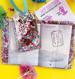 packed party confetti luggage tags