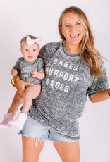 friday + saturday babes support babes acid wash tee