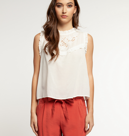 dex slv/less blouse with lace and ruffles