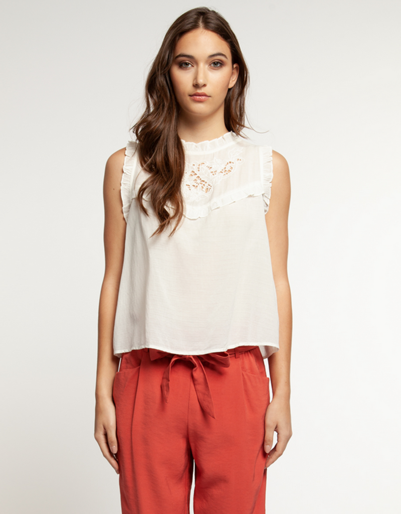dex slv/less blouse with lace and ruffles FINAL SALE