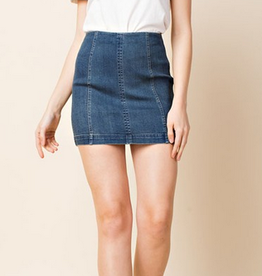 wild honey high waisted denim skirt with back zipper