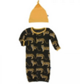kickee pants zebra tiger print layette gown converter and knot hat set