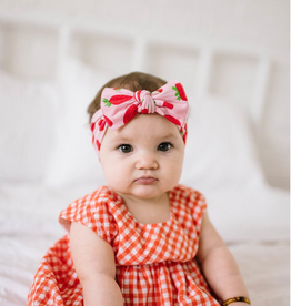 Baby Bling printed knot headband- very berry