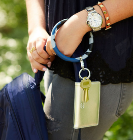 luxe leather big O key ring- blue camo
