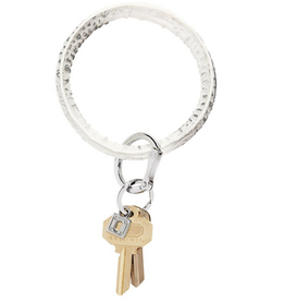 luxe croc embossed big O key ring: quicksilver