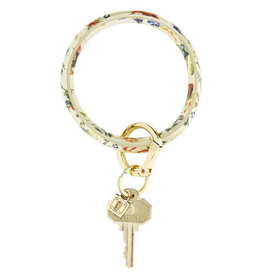 luxe leather big O key ring- gold rush floral