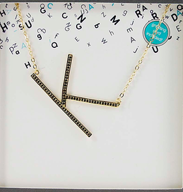 Large Sideways Black Nano Gem Initial Necklace