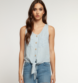 dex scoop neck buttoned top w/front tie FINAL SALE