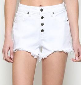 white four button high rise shorts
