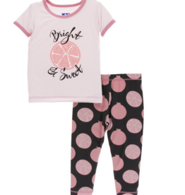 kickee pants zebra pomegranate print short sleeve pajama set