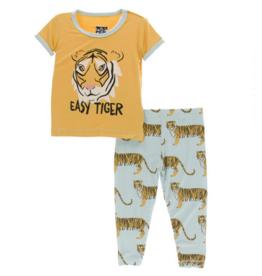 kickee pants spring sky tiger print short sleeve pajama set