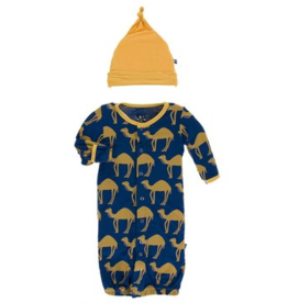 kickee pants navy camel ruffle layette gown and double knot hat set