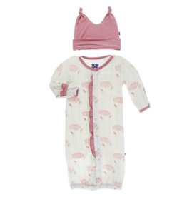 kickee pants natural lotus flower ruffle layette gown and double knot hat set
