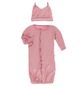 kickee pants desert rose gold leaf ruffle layette gown and double knot hat set