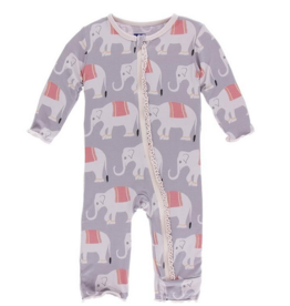 kickee pants feather indian elephant muffin ruffle coverall with zipper