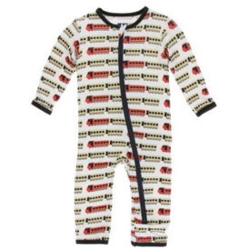 kickee pants natural indian train coverall with zipper