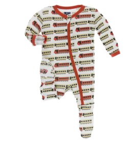 kickee pants natural indian train print footie with zipper
