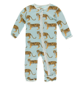 kickee pants spring sky tiger muffin ruffle coverall with zipper