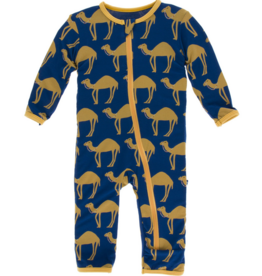 kickee pants navy camel coverall with zipper