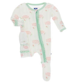 kickee pants natural lotus flower muffin ruffle footie with zipper