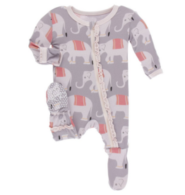 kickee pants feather indian elephant print muffin ruffle footie with zipper