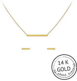 connected gold necklace and earring set
