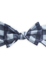 Baby Bling Grey/Black Plaid Printed Knot