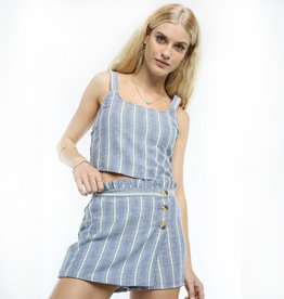 patrons of peace denim stripe skort FINAL SALE
