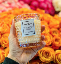 voluspa bergamot rose classic candle in textured glass